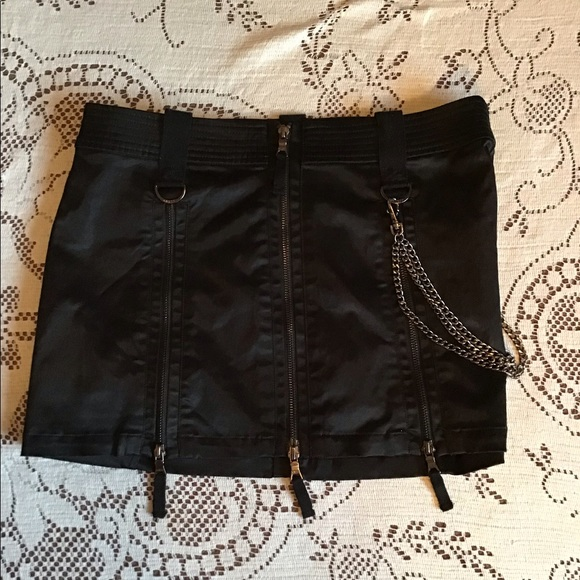 Guess Dresses & Skirts - Guess Jeans - Satin Mini Skirt w/ Chains & Zippers